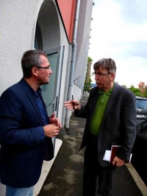 VBGM Peter Koch und Christian Ehetreiber im Vorgespraech zur Veranstaltung