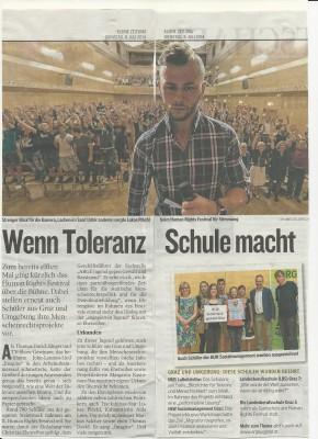 """""""Wenn Toleranz Schule macht"""", Kleine Zeitung, 08.07.2014"""