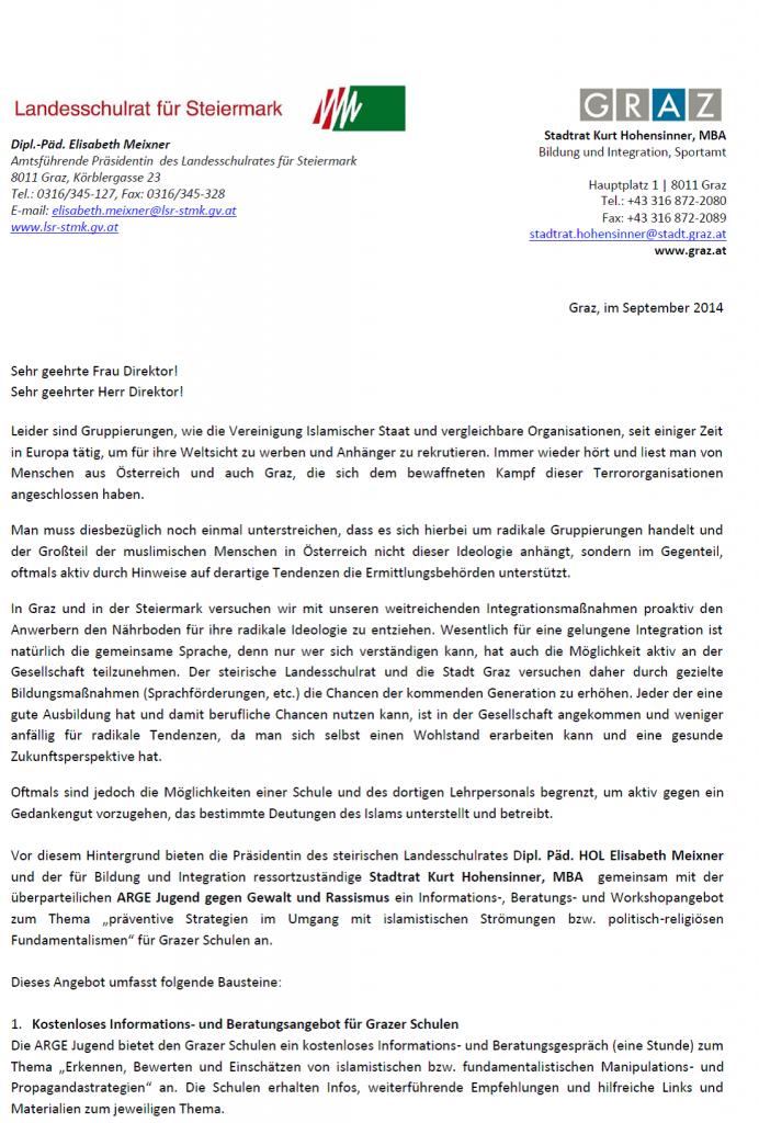 Brief Hohensinner Seite 1